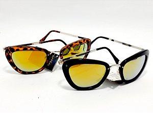 Óculos De Sol Adulto Com Armação Em Acetato Lente Espelhada - Amarelo