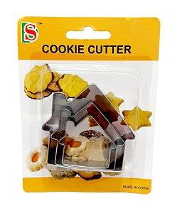 Kit Com 3 Moldes Para Biscoitos De Metal - Casinha