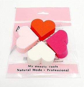 Embalagem Com 4 Esponjas Para Maquiagem - Coração