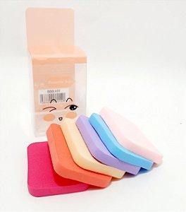 Embalagem Com 6 Esponjas Para Maquiagem - Quadrada Colorida