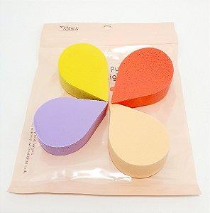 Embalagem Com 4 Esponjas Para Maquiagem - Gota Colorida