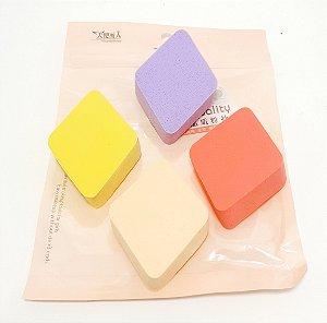 Embalagem Com 4 Esponjas Para Maquiagem - Losango Colorido