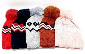 Touca De Lã Com Pompom - Colorido