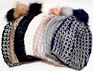 Touca De Lã Com Detalhes E Pompom - Colorido