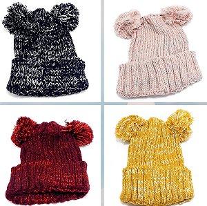 Touca De Lã Mesclada Com 2 Pompom - Colorido
