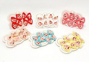 Elástico Para Cabelo Com Laço Pequeno 4 Unids - Temático Cupcake E Sorvete