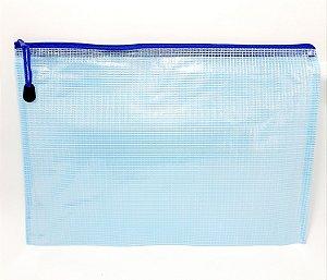 Pasta A4 De Plástico Multiuso Com Zíper - Azul