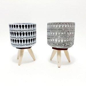 Vaso Decorativo De Cerâmica Com Pézinho - Colorido