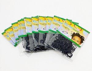 Embalagem Com 12 Pacotes De Elástico Para Cabelo De Silicone - Preto