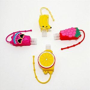Frasco Quadrado Para Álcool Em Gel Com Capa Em Silicone - Temático Frutas