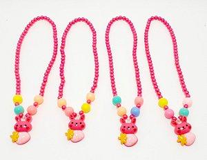 Colar Em Miçangas Infantil Pink - Temático Coelho