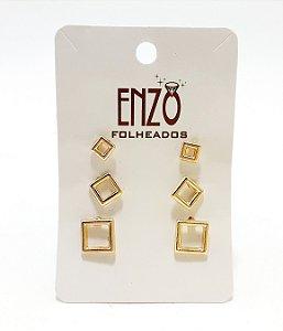 Cartela Com 3 Pares De Brincos Quadrados Vazados Dourados - REF: PT0454