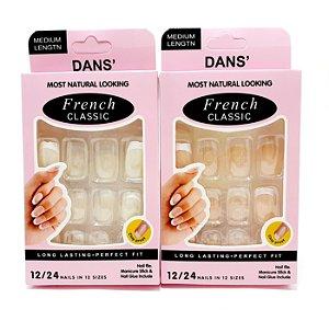 Embalagem Com 12 Unhas Postiças Quadrada - Francesinha
