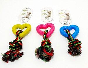 Mordedor Para Pet Coração Com Corda - Colorido