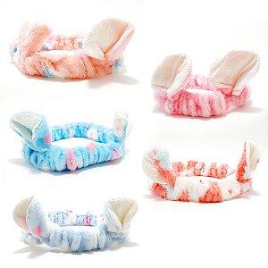 Faixa Tiara De Proteção Para Cabelo Pré Maquiagem Fina Com Orelhinhas - Coloridos