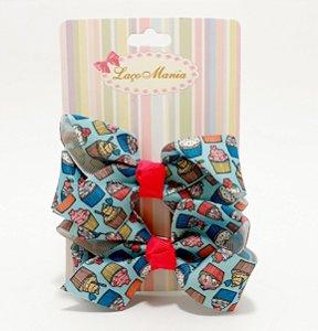 Presilha De Cabelo Com Laço Médio - Cartela Com 2 Unid - Cupcake
