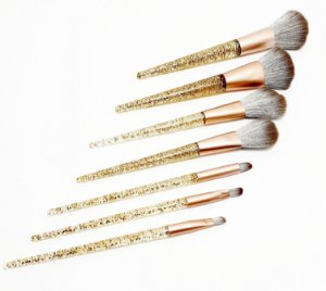 Pincel Para Maquiagem Com Cabo De Glitter Dourado