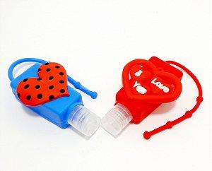 Frasco Quadrado Para Álcool Em Gel Com Capa Em Silicone Colorido - Temático Coração I