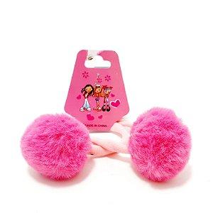 Kit Com 2 Elásticos Para Cabelo Com Pompom - Rosa