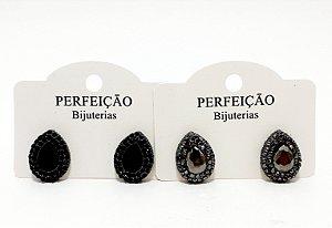 Brinco De Ródio Jateado Com Pedra - REF: PT0463