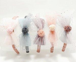 Tiara Infantil Com Laço E Pompom - Colorido
