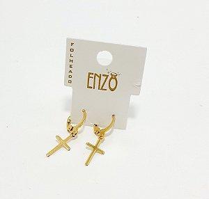 Brinco Argolinha Dourado Crucifixo - REF: PT0476
