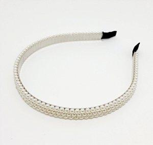 Tiara Fina Com Arco De Metal Flexível Com Mini Pérolas