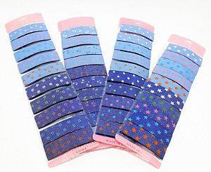 Cartela Com 10 Presilhas De Cabelo Tic Tac Revestido De Tecido - Jeans Estampado