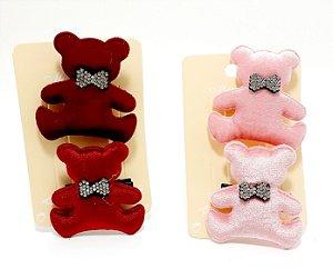 Cartela Com 2 Presilhas Bico De Pato De Veludo Para Cabelo - Ursinho