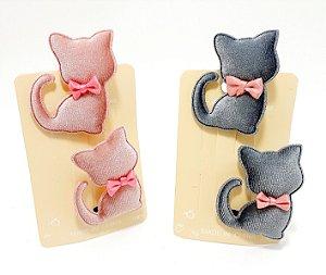 Cartela Com 2 Presilhas Bico De Pato De Veludo Para Cabelo - Gatinho