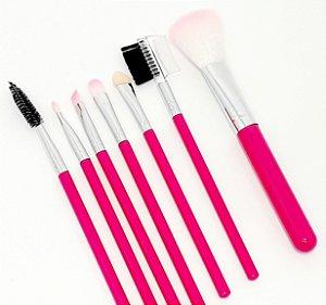 Kit Com 7 Pincéis Para Maquiagem - Cabo Rosa Pink
