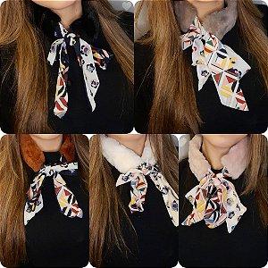 Gravatinha Felpuda Com Lenço - Colorido