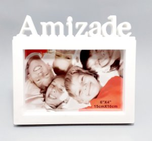 Porta Retrato De Plástico Para Mesa Temático Amizade - Branco