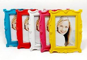 Porta Retrato De Plástico Com Moldura Arabesco - Colorido