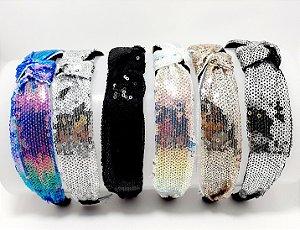 Tiara Turbante Com Arco Flexível Com Lantejoulas