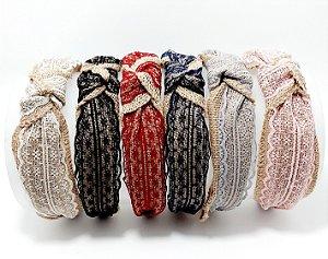 Tiara Turbante Com Arco Flexível Rustico Com Renda - Colorido