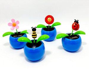Enfeite Vasinho Com Flor Luz Solar - Azul
