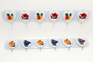 Cabideiro Com 6 Ganchos Para Adesivar De Plástico - Frutas