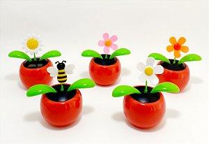 Enfeite Vasinho Com Flor Luz Solar - Vermelho
