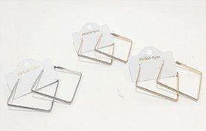 Brinco Quadrado Com Glitter - REF: PT0500