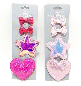 Bico De Pato Cartela Com 4 Laços - Coração E Estrela