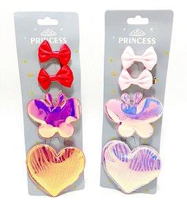 Bico De Pato Cartela Com 4 Laços - Coração E Borboleta