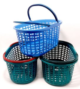 Cesto Para Prendedor De Roupas Com Alça De Plástico - Colorida