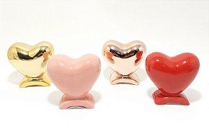 Enfeite Decorativo De Cerâmica - Coração Com Apoio