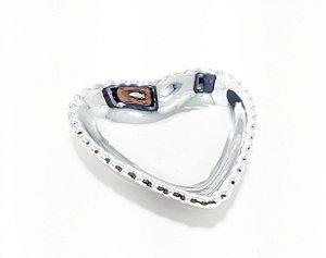 Enfeite Decorativo De Cerâmica Pequeno - Coração Prata