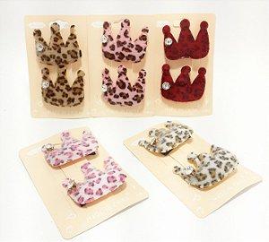 Bico De Pato Cartela Com 2 Laços Coroa - Animal Print