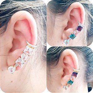 Piercing Fake De Orelha Com Pedras - Colorido
