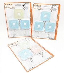 Embalagem Com 3 Ganchos Adesivo Decorativo Quadrado - Shock