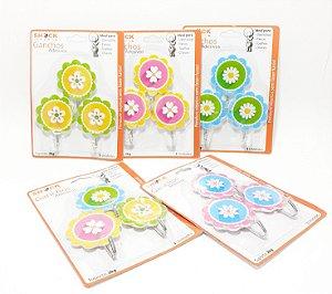 Embalagem Com 3 Ganchos Adesivo Decorativo Flor - Shock