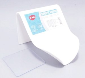 Saboneteira de Parede Em Plástico Branco Com Fita Autocolante - Clink